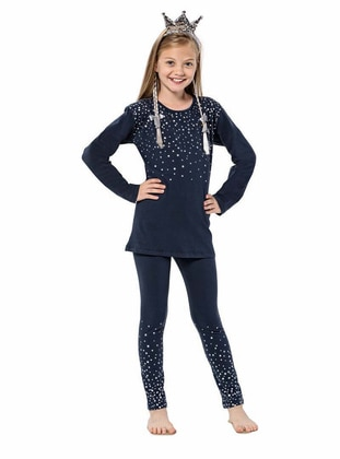 Crew neck -  - Unlined - Navy Blue - Girls` Suit - Larice Kids