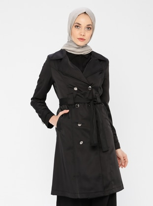 Black - Fully Lined - Shawl Collar - Trench Coat