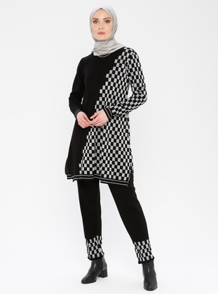Silver tone - Black - Checkered - Unlined - Acrylic -  - Suit