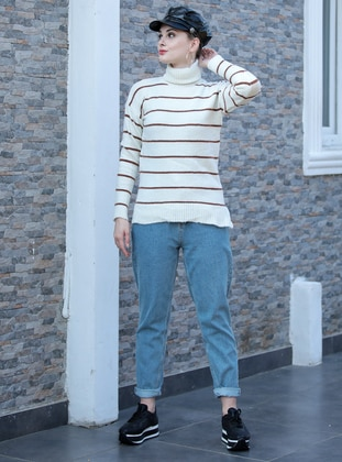 Ecru - Stripe - Polo neck - Acrylic -  - Jumper