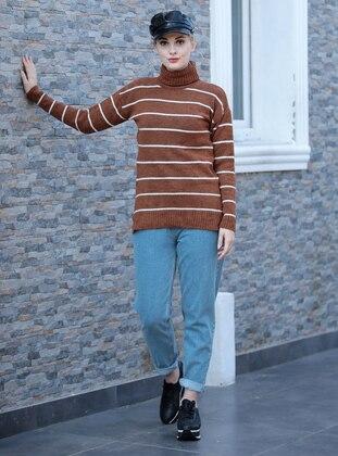 Brown - Stripe - Polo neck - Acrylic -  - Jumper