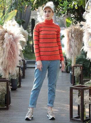 Orange - Stripe - Polo neck - Acrylic -  - Jumper