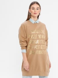 Brown - Crew neck -  - Sweat-shirt