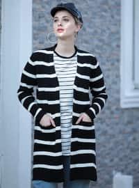 White - Black - Stripe - Unlined - Acrylic -  - Jacket