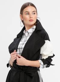 Gray - Black - Unlined - Shawl Collar - Topcoat