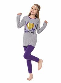Crew neck -  - Unlined - Gray - Girls` Suit