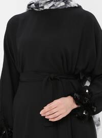 Black - Polo neck - Unlined - Dress