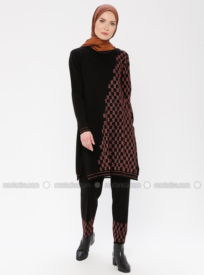 Copper - Black - Checkered - Unlined - Acrylic -  - Suit