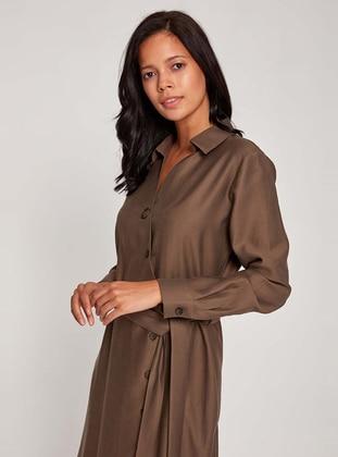 Khaki - Point Collar - Unlined -  - Dress