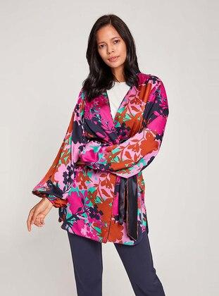 Purple - Unlined - V neck Collar -  - Abaya
