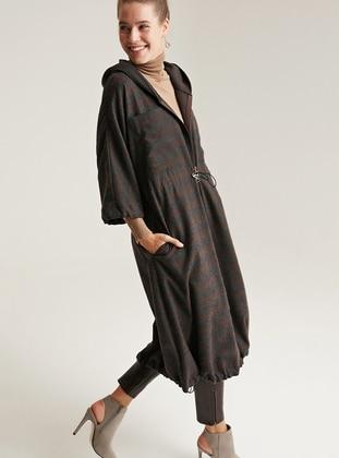 Brown - Unlined -  - Trench Coat - Muni Muni