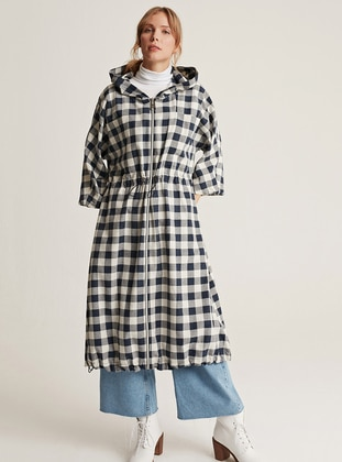 Ecru - Navy Blue - Checkered - Unlined -  - Trench Coat