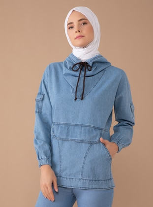 Cotton -  - Polo neck - Blue - Sweat-shirt