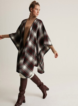 Maroon - Maroon - Checkered - Shawl Collar - Unlined -  - Wool Blend - Poncho