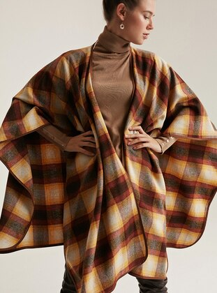 Mustard - Mustard - Checkered - Shawl Collar - Unlined -  - Wool Blend - Poncho
