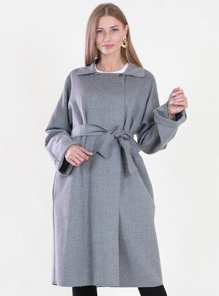 Gray - Fully Lined - Sweatheart Neckline - Coat