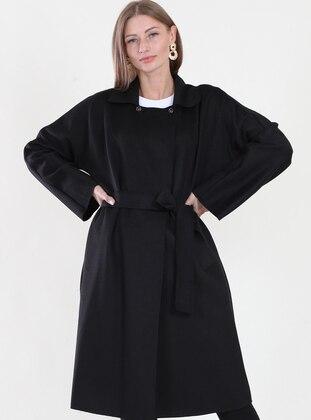 Black - Fully Lined - Sweatheart Neckline - Coat