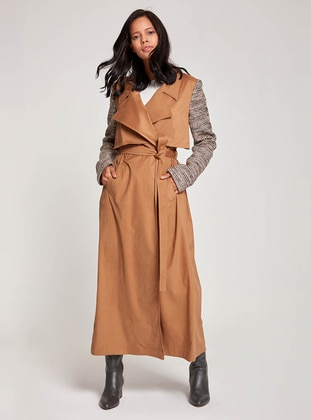 Beige - Fully Lined - V neck Collar - Trench Coat