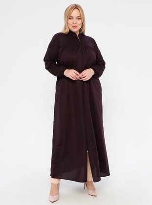 Plum - Unlined - Crew neck - Abaya - ECESUN