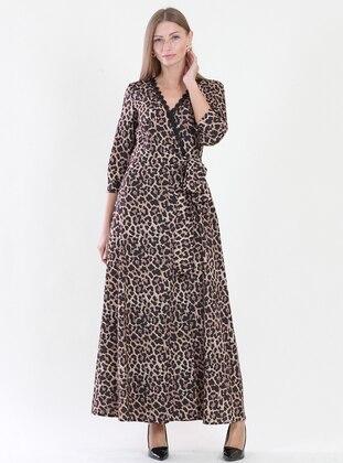 Black - Leopard - V neck Collar - Fully Lined - Dress