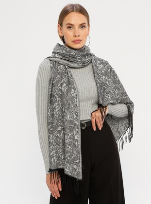 Gray - Printed - Fringe - Shawl