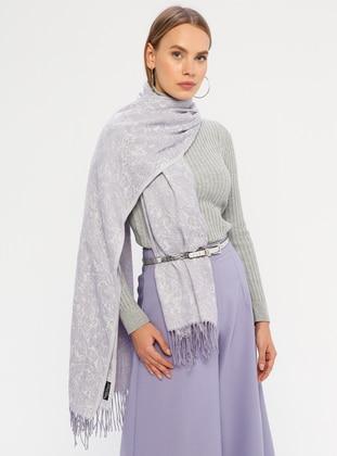 Lilac - Printed - Fringe - Shawl