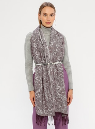 Purple - Printed - Fringe - Shawl