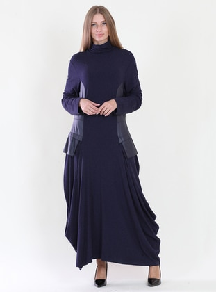 Navy Blue - Polo neck - Fully Lined - Dress