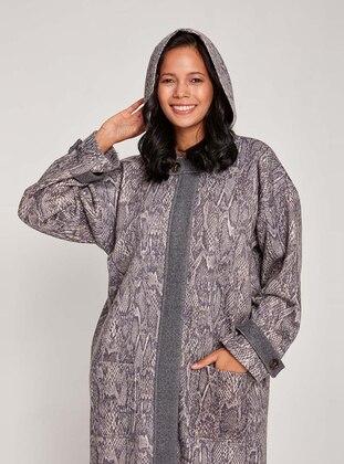 Gray - Fully Lined - V neck Collar - Coat