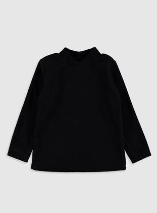 Polo neck - Black - Girls` T-Shirt