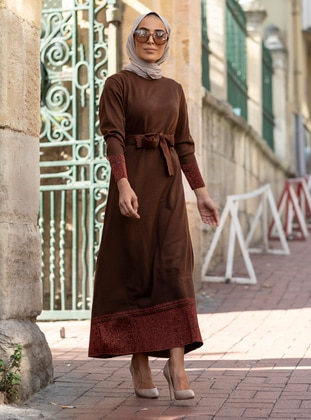 Brown - Crew neck - Unlined - Acrylic -  - Dress
