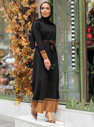 Saxe - Black - Crew neck - Unlined - Acrylic -  - Dress