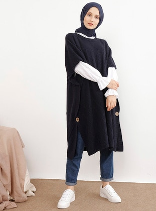Navy Blue - Crew neck - Acrylic - Cotton -  - Poncho - İnşirah