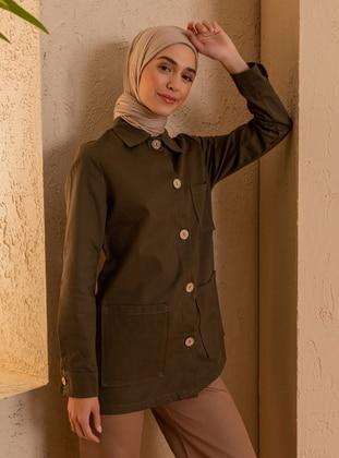 Khaki - Unlined - Point Collar - - Topcoat