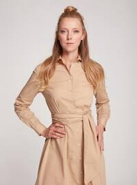 Beige - Point Collar - Unlined -  - Dress