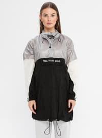 Gray - Black - Unlined - Crew neck - Topcoat