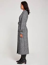 Gray - Fully Lined - Point Collar -  - Trench Coat
