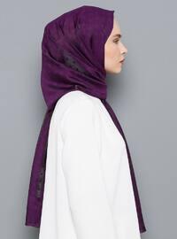 Purple - Plain - Viscose - Shawl