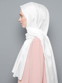 White - Printed - Shawl