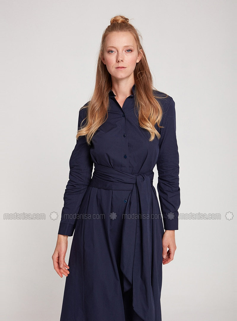 Navy Blue - Point Collar - Unlined -  - Dress