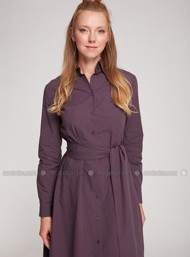 Plum - Point Collar - Unlined -  - Dress
