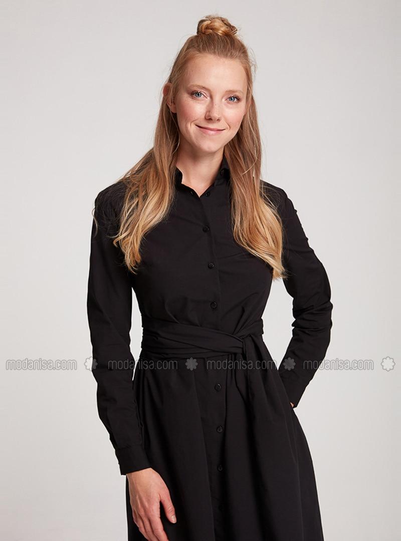 Black - Point Collar - Unlined -  - Dress