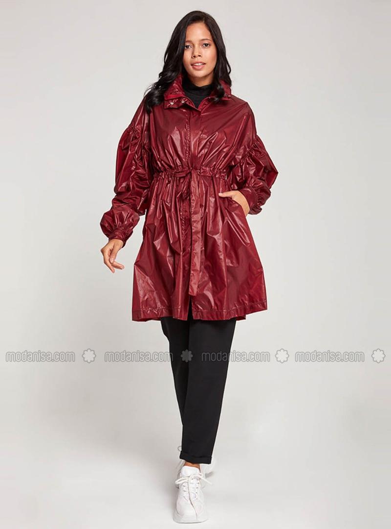 Maroon - Unlined - Trench Coat