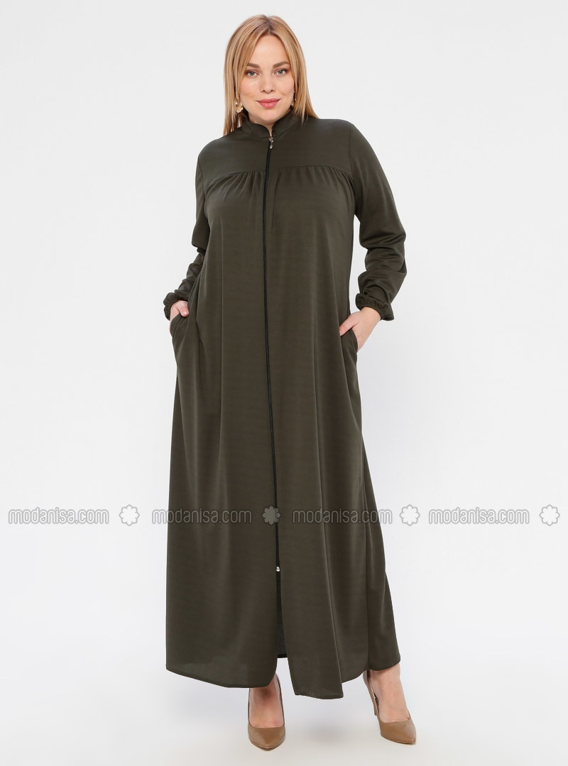 Khaki - Unlined - Crew neck - Abaya