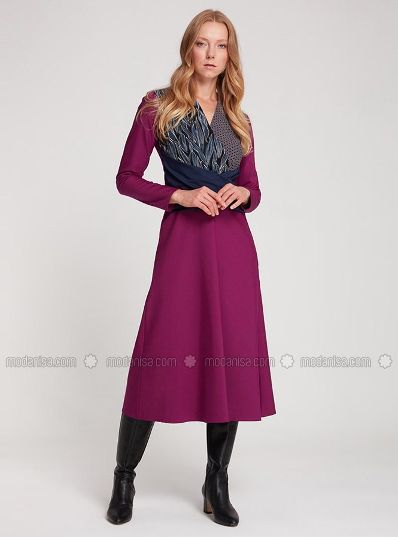 Purple - V neck Collar - Unlined -  - Dress