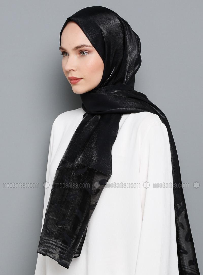 Black - Plain - Viscose - Shawl
