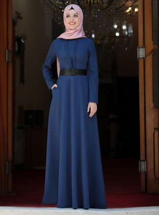 Indigo - Unlined - Crew neck - Muslim Evening Dress