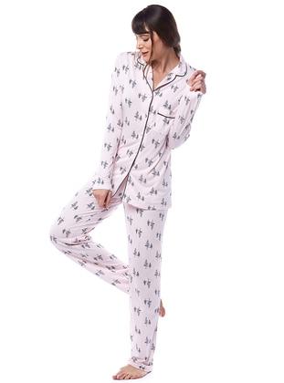 Pink - Shawl Collar - Floral - Viscose - Pyjama Set
