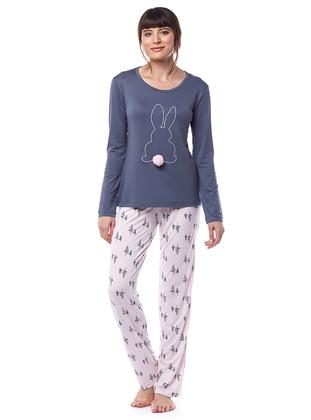 Smoke - Crew neck - Multi - Viscose - Pyjama Set