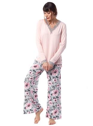 Pink - V neck Collar - Floral - Viscose - Pyjama